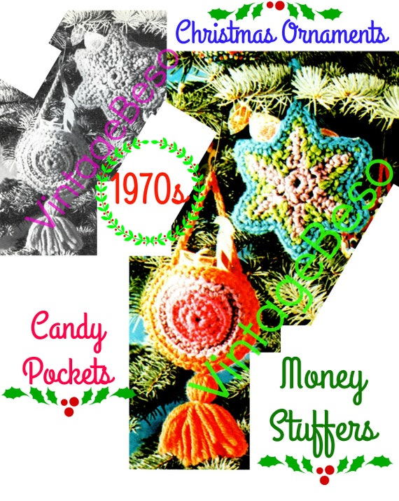 Christmas Ornament Crochet Pattern • Candy Pockets • Money Stuffers • Vintage 1970s Pattern • INSTANT Download • PDF • Digital Download