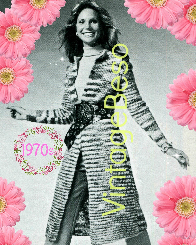 e8b6c9cb7 Coat KNITTING Pattern • 1970s Striated Coat • Vintage Knit Pattern • Retro  Ladies Long Jacket Pattern • Instant Download • PdF • Digital