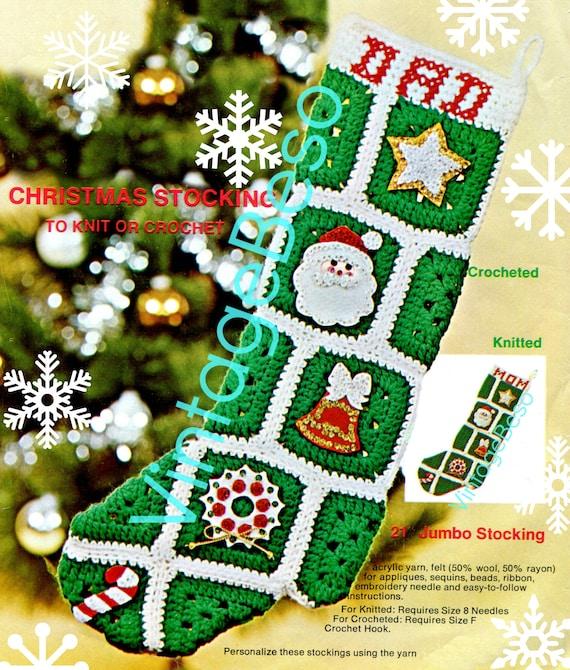 Instant Download • Crochet Pattern + KNITTING Pattern Christmas Stocking Vintage 1970s Retro 1970s Granny Square Stocking PdF Pattern
