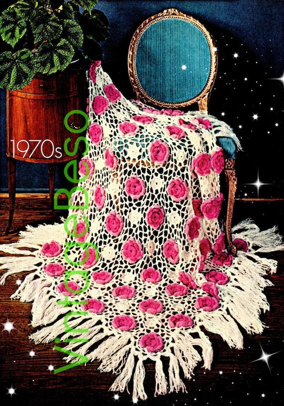 Afghan Crochet PATTERN • Vintage Rose Afghan • 1970s Rose Crochet Pattern • Flower • VintageBeso • Instant Download • PDF Pattern