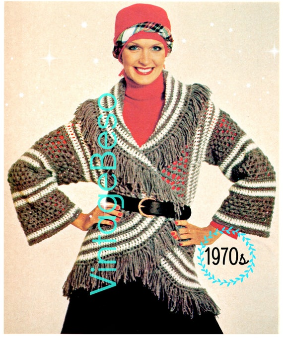 Cardigan Crochet PATTERN • Instant Download • PDF • Vintage Grey BOHO Circle Wrap • 1970s Top Bohemian Clothing Hippie Boho Coat Pattern