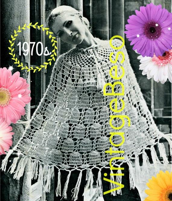 DIGITAL PATTERN •  Poncho Crochet Pattern • PdF Pattern • 1970s Vintage Bell Poncho • Lovely Poncho Tie at Neck with Fringe