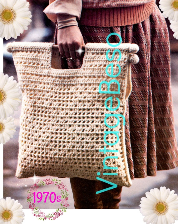 "Tote CROCHET Pattern • 20 3/4 X 16 1/2"" • 1970s Vintage • Boho Summer Bag  • Handy Size Tote Wood Handle • Watermarked PDF Only"