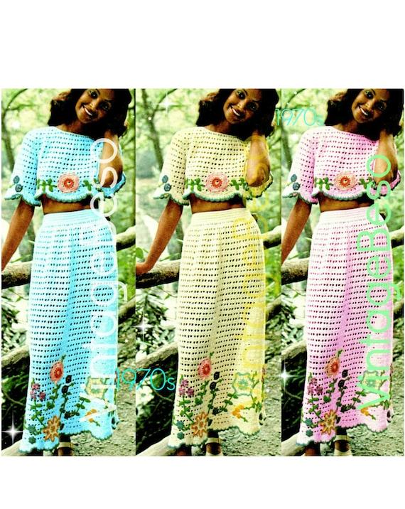Vintage 1970s Midriff Top Skirt Set • Crop Top Crochet Pattern • Skirt Crochet • Bohemian • Boho Clothing • Flower • Watermarked PDF Only