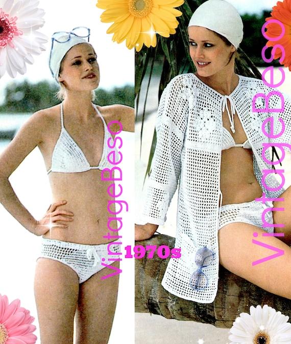 Peekaboo Bikini + Filet Jacket Coverup CROCHET PATTERN • Feminine Beach Set • Digital Pattern • PDF • Sexy Bathing Suit • Vintage 1970s