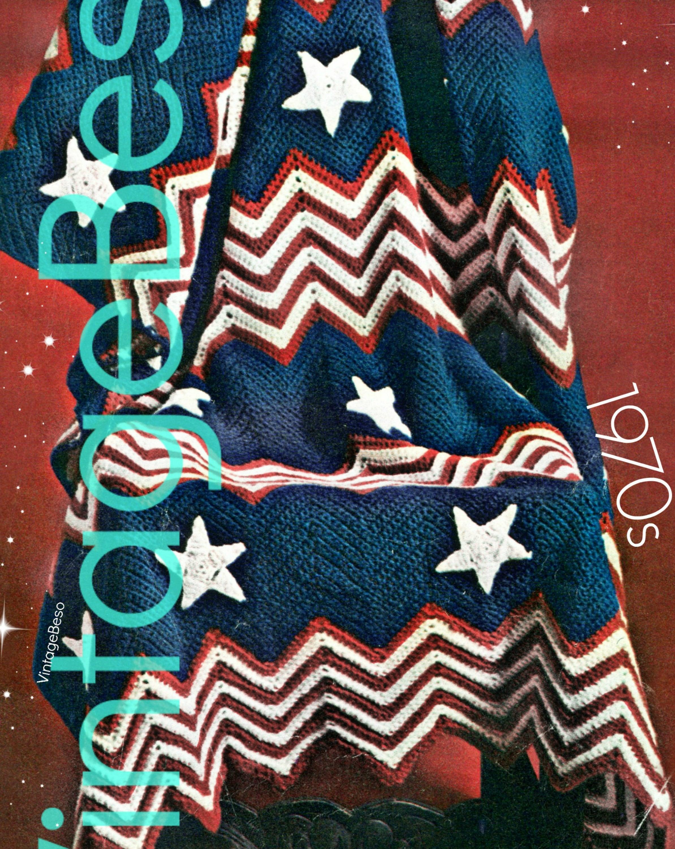 Afghan Crochet Pattern Vintage 1970s Patriotic Pattern Usa