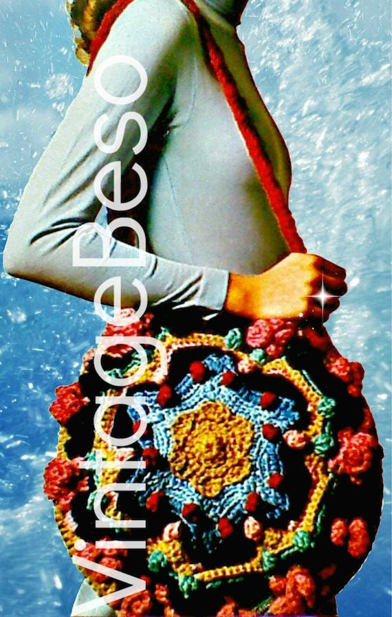 Boho Bag Crochet PATTERN • Vintage RARE 1970s Original Pattern Hard to Find Club Hippie Boho Festival Purse Party • Watermarked PDF Only