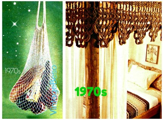 2 Patterns Tote CROCHET Pattern Vintage 1970s Bag Crochet Pattern Bed CANOPY Crochet Pattern Valance Pattern Instant Download PDF Pattern