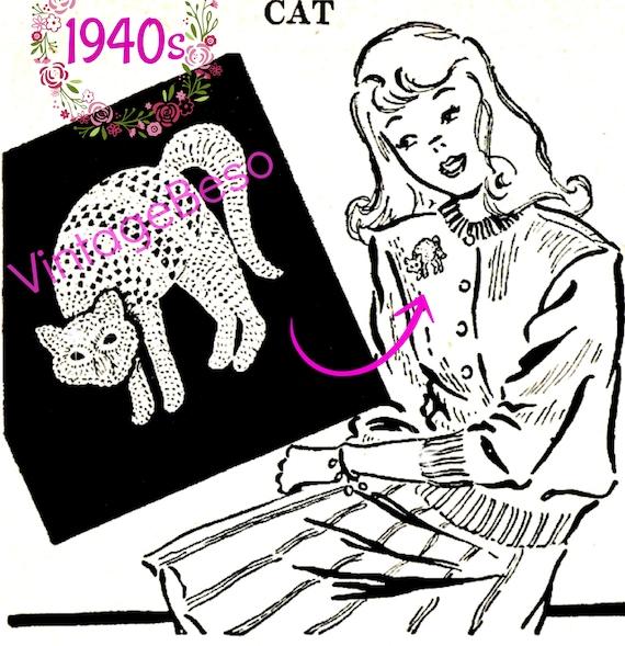 Instant Download Cat Crochet Pattern Vintage 1940s Cat Etsy