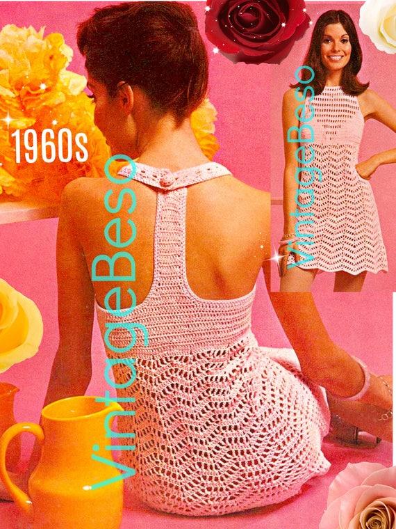 Crochet Dress Pattern • PDF Pattern • Ladies 1960s Sexy Dress • Vintage Crochet Pattern Crochet Mini Dress Crochet Instant Download Pattern