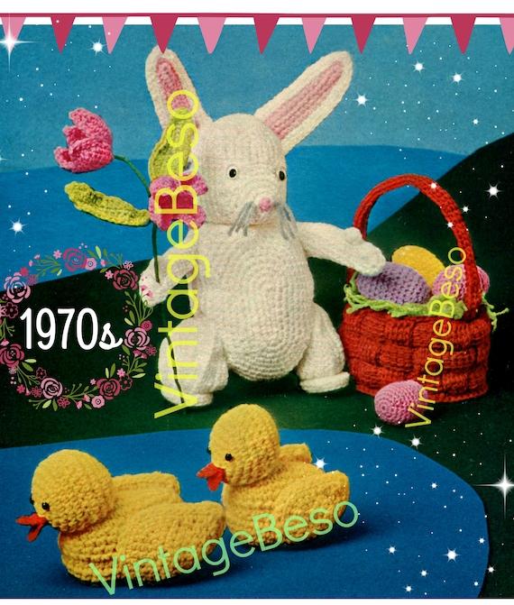 Bunny Crochet Pattern • Vintage 1970s Tulip Flower • Easter Eggs • Weaved Basket • Baby Ducks • Soft Toys • Watermarked PDF Only