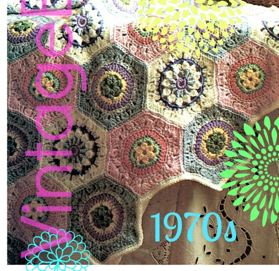 EASY Afghan Crochet Pattern • 1970s Granny Square Hexagon Motif Throw Flower Boho Blanket • Vintage • Boho • Watermarked PDF Only