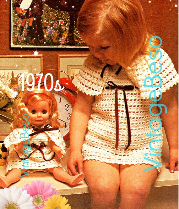 Little Girl + Doll Matching Outfit Crochet Pattern • Dress and Cape Pattern • 1970s Vintage Crochet Pattern • Retro • Watermarked PDF Only