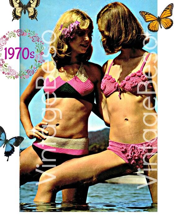 Bikini Crochet Pattern 2 Bikini Patterns Vintage 70s Bikini Bra Crochet Patterns Bikini Pants Crochet Pattern Instant Download PDF Pattern