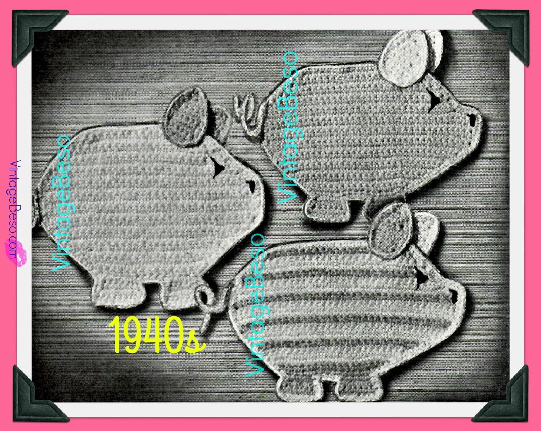 2 Pig Potholder Crochet Pattern Vintage 1940s Three Little Piggies