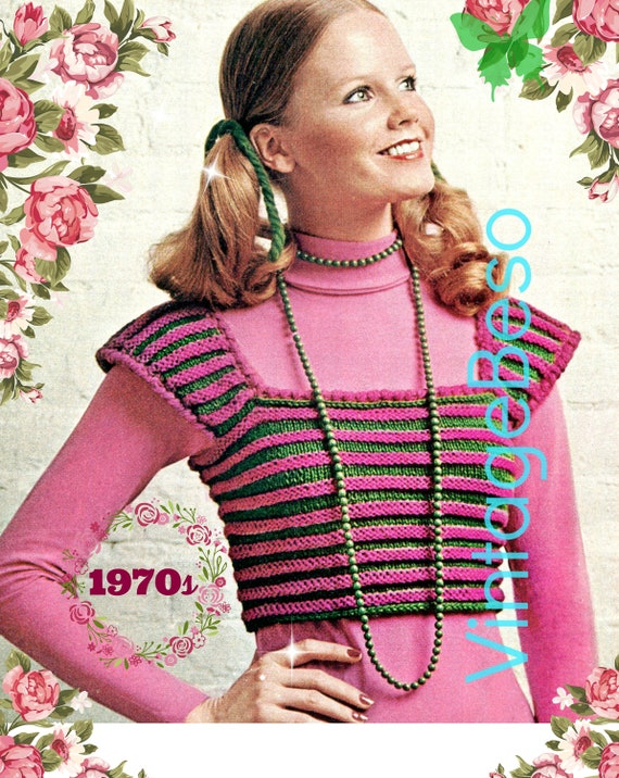 Easy Top Knitting Pattern • Striped Crop Top • Vintage 70s • Retro Shrink Top • KNITting with tad bit of crochet • Watermarked PDF Only