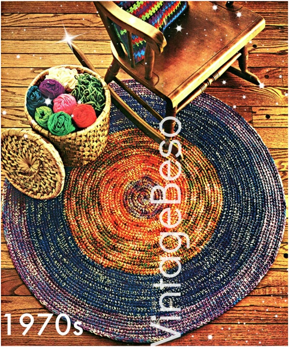 EASY RUG Crochet Pattern • Vintage 1970s • Round and Round Rug • Retro Pattern • Kitchen Bedroom Living Room • Watermarked PDF Only