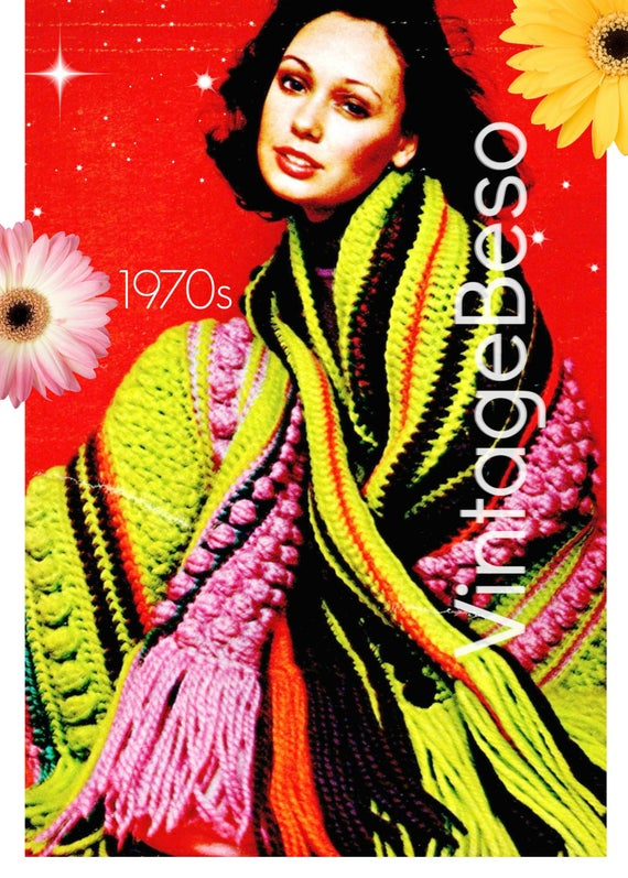 Afghan Crochet PATTERN • Vintage 70s Exuberant Afghan • Bohemian Home Decor • Super Fun Popcorn Stitch • VintageBeso • Watermarked PDF Only