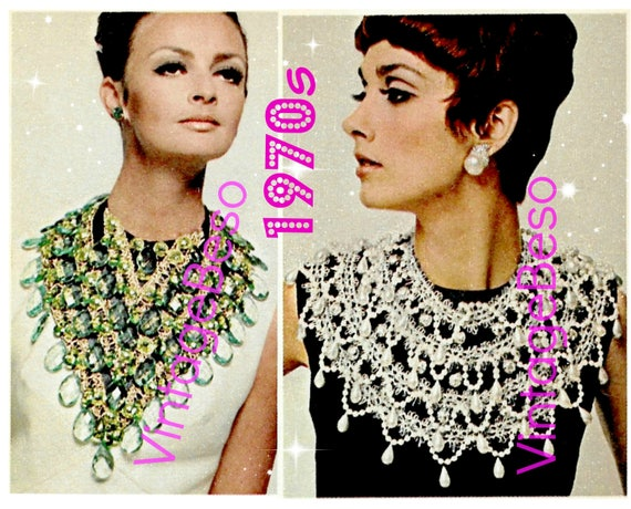 70s Sexy Collar & Bib • Make Necklace 2 Guides -> 1st Emerald Bib + 2nd Pearl Collar • Watermarked PDF Only