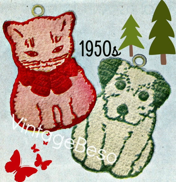 Cat Crochet PATTERN • Dog CROCHET Pattern • 1950s • Potholder Pattern • Vintage Crochet Pattern • Watermarked PDF Only