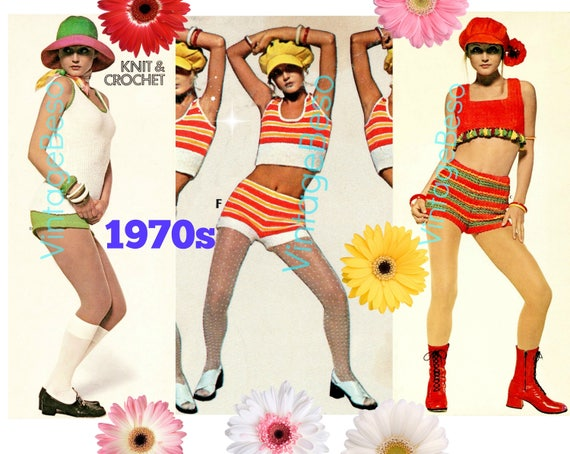 10 Knitting and Crochet PATTERNs • 1970s Sexy Crop Tops and Hot Pants • USA Pattern • Sexy Crochet in Big Print • Watermarked PDF Only