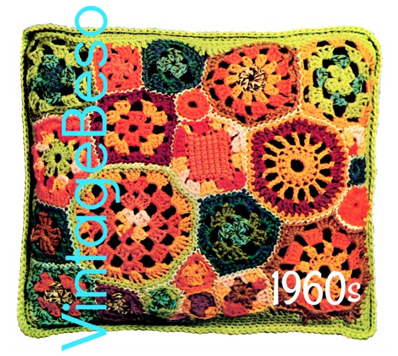 25 Granny Square Motif Pillow Crochet PATTERN • Vintage 60s Patchwork Pillow • Retro Free Form • Hippie • Home Decor • Watermarked PDF Only