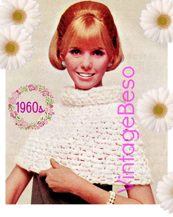 CAPE Crochet Pattern • 1960s Crochet Pattern • White Luxury Collar Cape • GIANT Hook • PDF Pattern • Ladies Feminine Short Cape