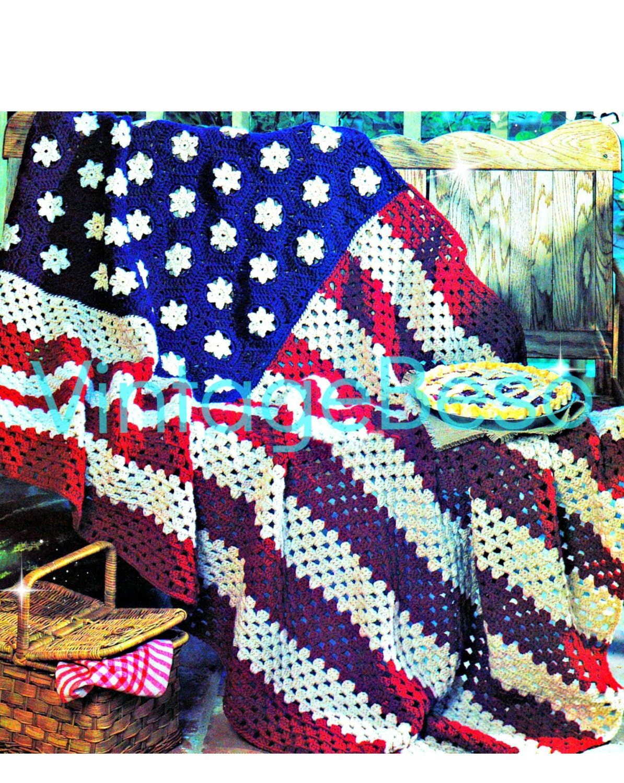 Instant Download Pdf American Flag Easy Afghan Crochet Pattern
