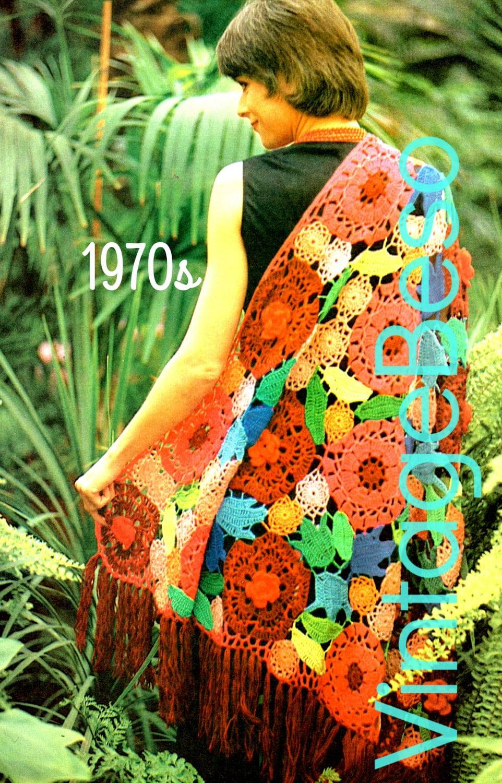Shawl Crochet Pattern Vintage 1970s Shawl Floral Crochet Pattern