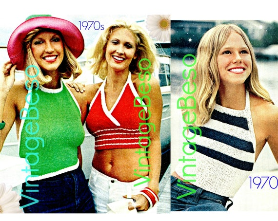 3 Knitting Patterns • Vintage 1970s Halter Top KNITTING Patterns for Summer Wear • Striped • Solid • Midriff • Watermarked PDF Only