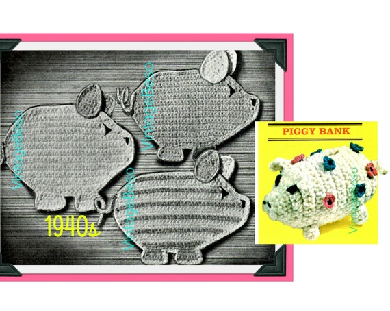 2 Pig Potholder Crochet Pattern Vintage 1940s Three Little Piggies Tailgate Party BBQ Quick • FREE Pattern • Watermarked PDF Only