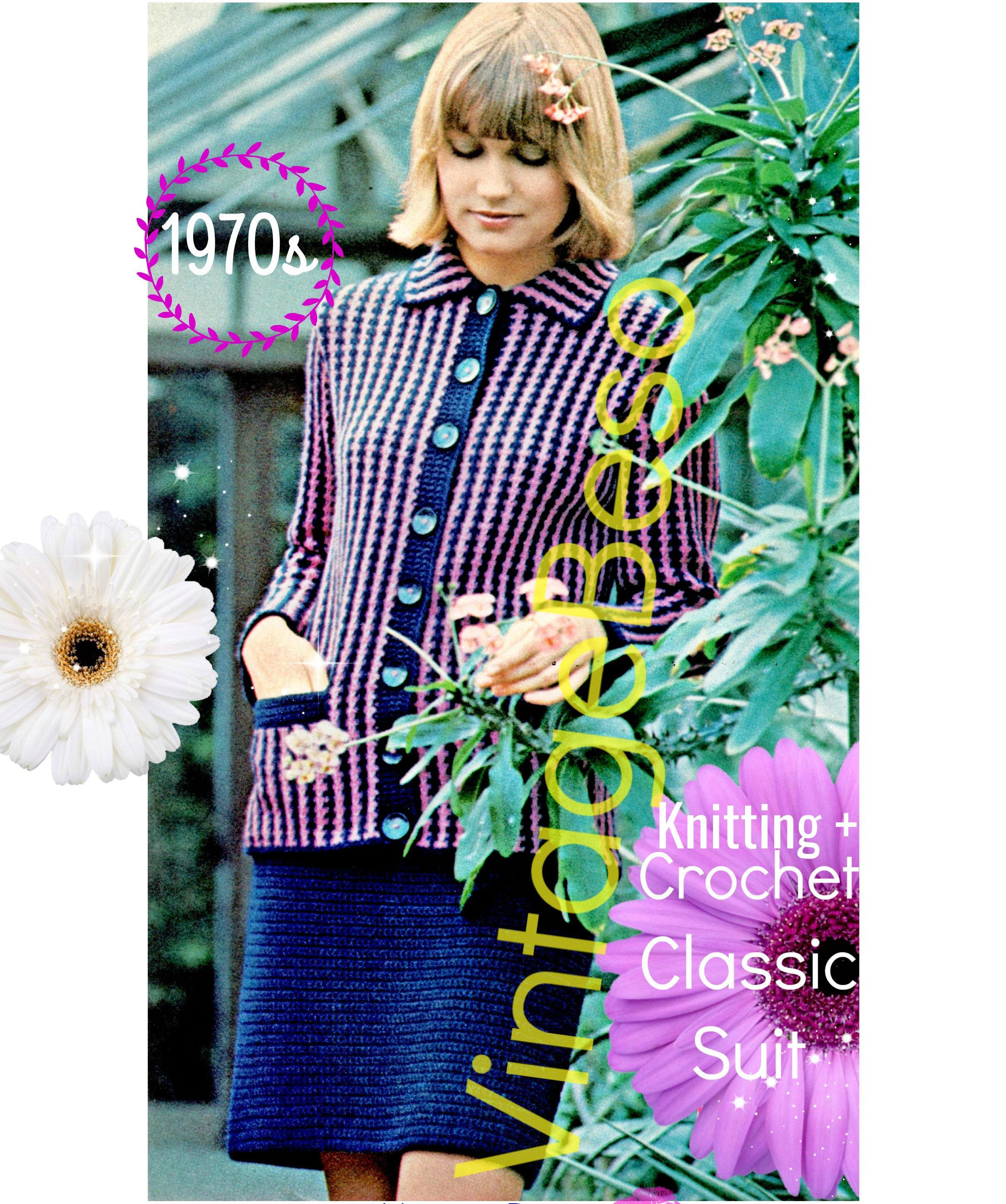 Ladies Dress Suit 1970s Knitting Crochet Pattern Pdf Pattern