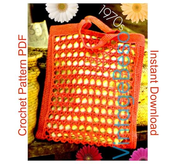 Bag Crochet Pattern • 1970s Elegant Beach Bag • Crochet Pattern • great to carry with Beachwear Bikini Swimsuit • Instant Download • PDF