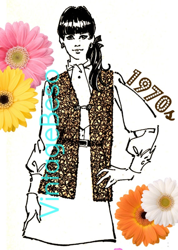 Vest Crochet Pattern • 1970s Vest Pattern • Instant Download • Hippie Vest Jacket • Gypsy Clothing • Vintage Beso • Watermarked PDF Only