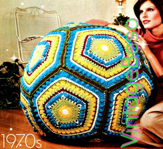 CROCHET Pillow Pattern • Vintage Giant Floor Pillow Ball Cushion Retro 1970s Granny Square • Watermarked PDF Only