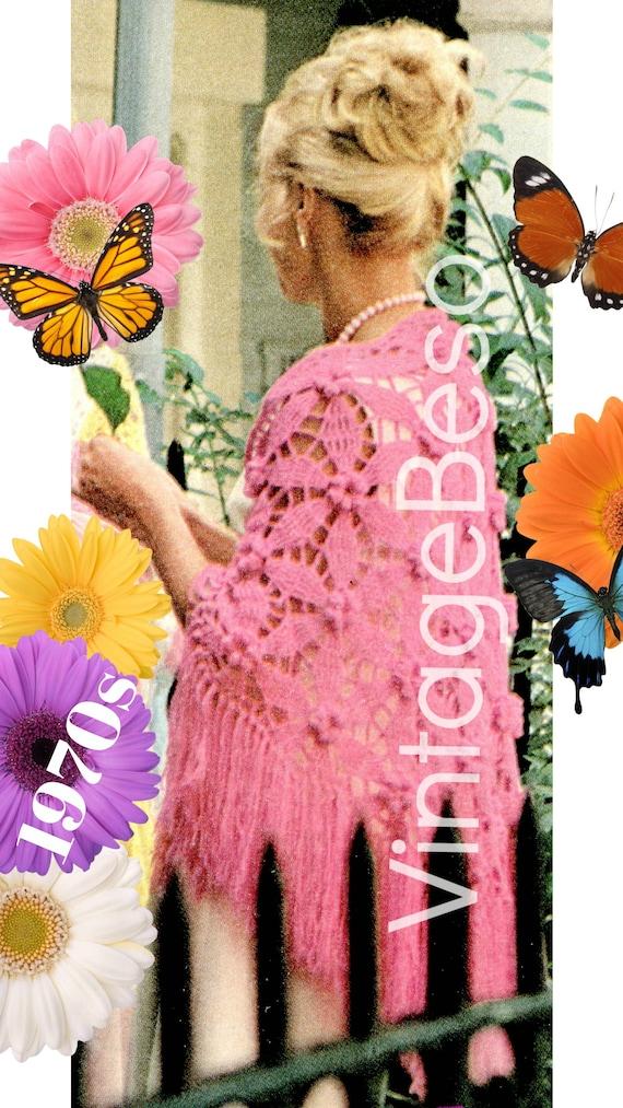 Shawl CROCHET Pattern • PDF Pattern • Large Flower Petal with Feminine Long Fringe Shawl  • Boho Lovely • Vintage 1970s