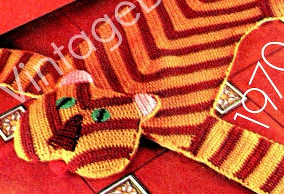 Rug Crochet PATTERN • PDF • Vintage 1970s TIGER Crochet Pattern • Wild Animal • Bohemian Home Decor • Childs Bedroom Rug • Instant Pattern
