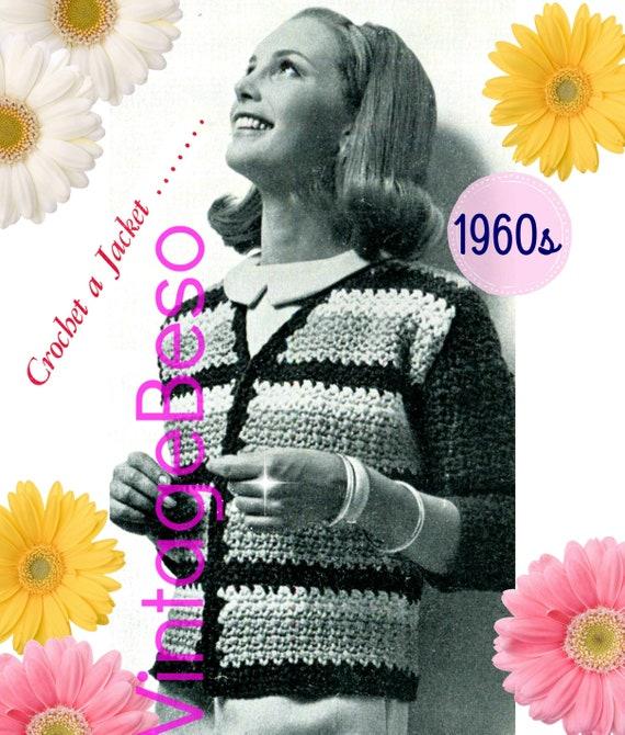 Jacket Crochet Pattern • Vintage 1960s Striped Jacket • Classic Jacket • Small Medium Large • Retro • Watermarked PDF Only