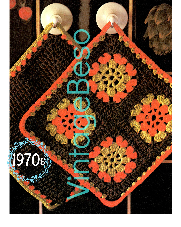 Digital Pattern Potholder Crochet Pattern Granny Square Potholders Vintage 1950s Tea Time Kitchen Fun Gift Corner Edge Hook