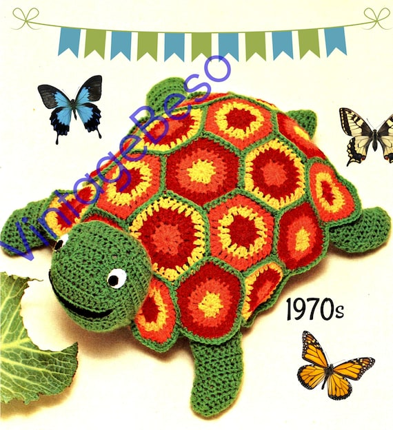 Turtle CROCHET Pattern • Vintage 1970s made of half dc's and six motifs • Stuffed Tortoise • Watermarked PDF Only