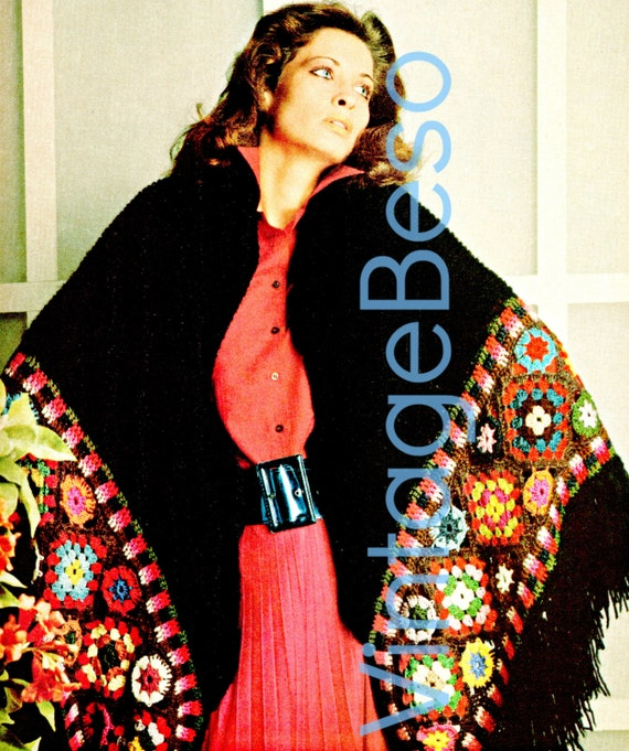Shawl KNITTING & CROCHET Pattern Brilliant Fashion Wrap Knitted black main wrap section w/a Granny Square Sexy border • Watermarked PDF Only