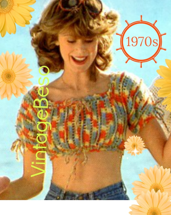 Top Crochet Pattern • 1970s Vintage Crochet Pattern • Get that Summery Feeling • Mosaic Midriff Top • Sexy Top • Boho • Watermarked PDF Only
