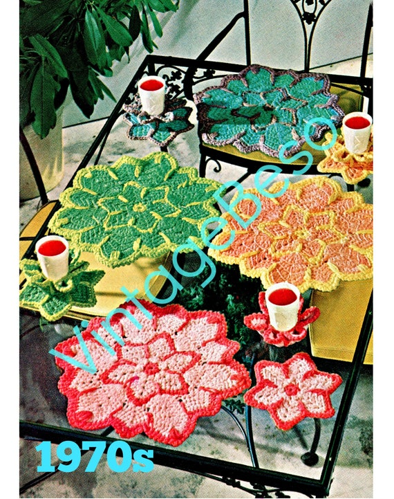 5 Vintage CROCHET Patterns Flower Place Mats and Glass Holders 1970s + 1940s Casino DICE Potholder + Case • Watermarked PDF Only