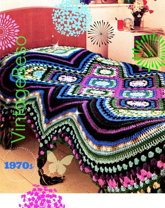 "Fascinating Afghan Single Bed • Afghan Crochet PATTERN • Vintage 1970s • PDF Only • Geometrical with Granny • 36"" Wide • Vintage Pattern"