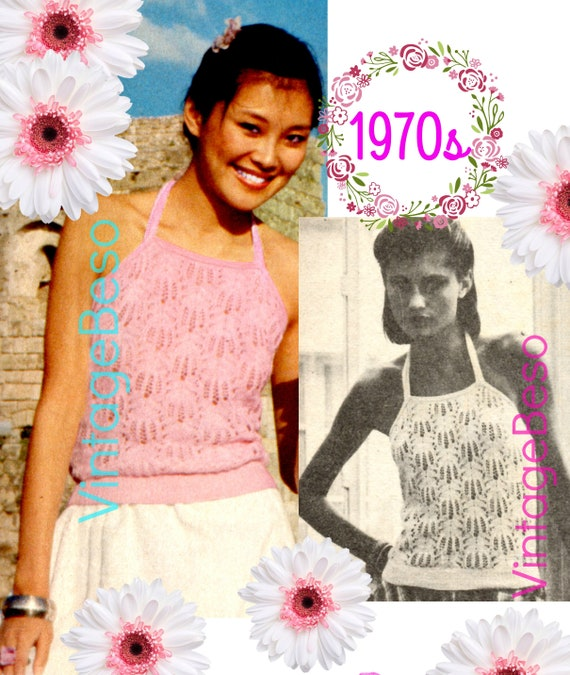Top KNITTING PATTERN • Vintage Halter Top with Sexy Lacy Look • Chic • Summer Top • Feminine Ladies Top • Watermarked PDF Only