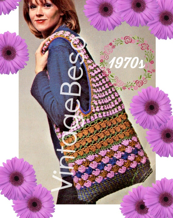 "Boho Gypsy Bag CROCHET Pattern • Vintage 1970s • Great ""Grab and Go"" Bag • Hold Everything Bag • Bohemian Essential • Watermarked PDF Only"