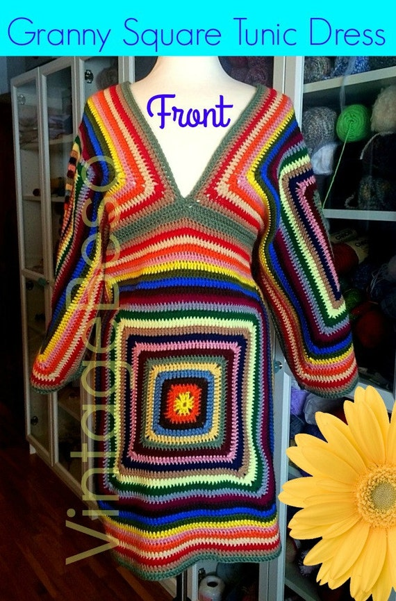 4 Patterns Dress CROCHET PATTERN Vintage 1970s Sweater Crochet Pattern Top Pattern Scarf Crochet Granny Square Dress • Watermarked PDF Only