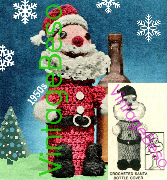 Liquor Bottle Cover CROCHET Pattern Vintage 1950s RARE Christmas Santa Hard to Find Jolly Santa Wine Party Gift Instant Download PDF Pattern