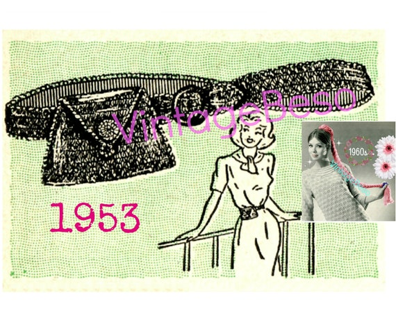 Belt with Attached Coin Purse • Vintage 1950s Crochet PATTERN • First Fanny Pack • Quick • Easy to Make Pouch • Watermarked PDF Only