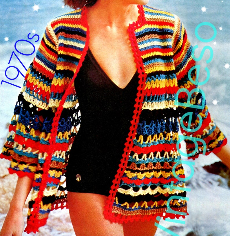 93c98287ba Beach Jacket CROCHET Pattern Vintage 70s Cover Up Retro | Etsy
